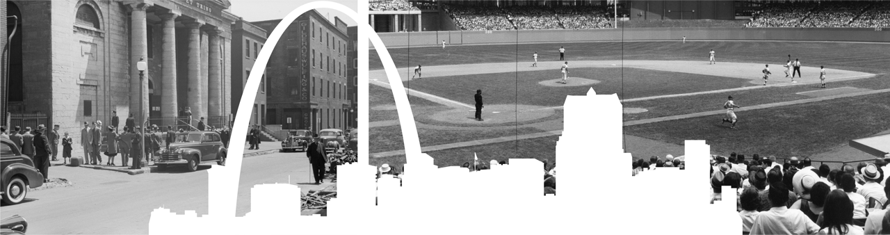 St. Louis Arch vector with old street and baseball stadium photos in background