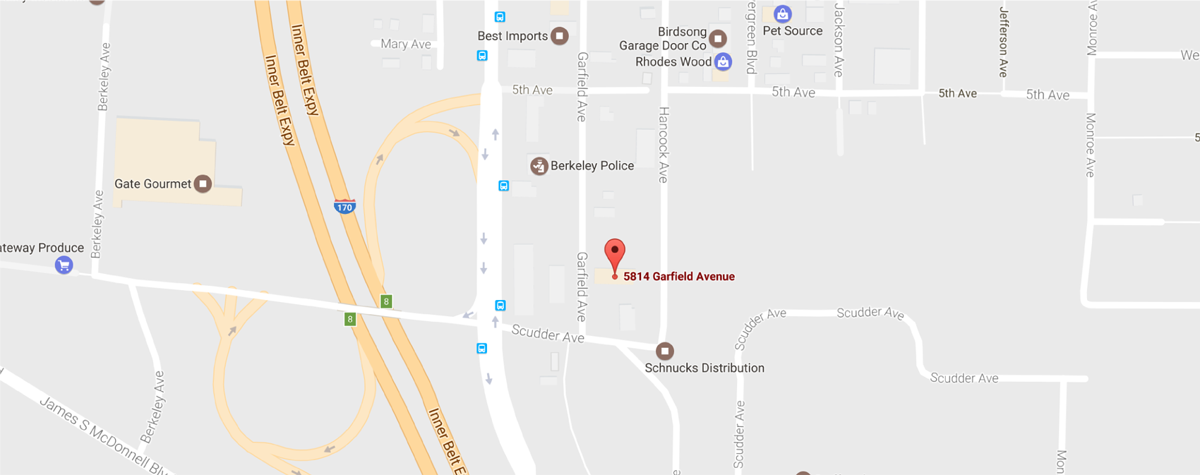 Map showing location of Ferguson Roofing headquarters